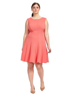Fit & Flare Dress In Melonby Sandra Darren Available in sizes 14W-24W
