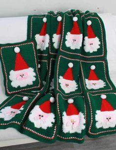 Jolly Santa Afghan and Pillow Crochet Pattern