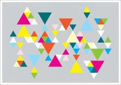 Geometric Triangles Abstract Art Print by RainbowPieClothing