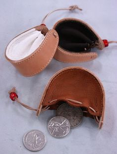 Draw string leather coin purse from scraps (maybe make from scrap leather)