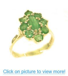 Luxury Ladies Solid British 14K Yellow Gold Natural Emerald Cluster Ring - Finger Sizes 5 to 12 Available - Perfect Gift for Birthday, Christmas, Valentines Day, Mothers Day, Mom, Mother, Grandmother, Daughter, Graduation, Bridesmaid.