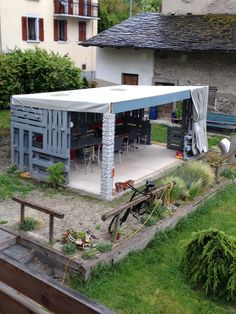Covered terrace #Garden, #Pallet, #PalletsWall, #Terrace