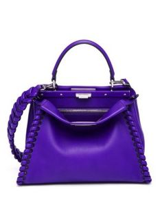 Fendi - Peekaboo Whipstitched Leather Satchel saks PO