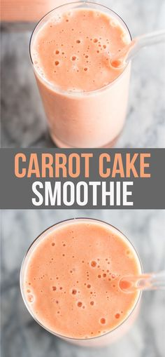 This carrot cake smoothie recipe makes a great healthy breakfast or dessert! Made with raw carrots frozen bananas milk greek yogurt maple syrup and spices. Add extra veggies into your day with this delicious smoothie! Carrot Cake Smoothie, Smoothie Fruit, Veggie Smoothies, Yummy Smoothies, Apple Smoothies, Smoothie Drinks, Smoothies With Carrots, Dinner Smoothie, Breakfast Smoothie Recipes