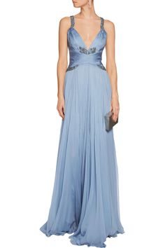 Shop on-sale Roberto Cavalli Crystal-embellished plissé silk-chiffon gown. Browse other discount designer Dresses & more on The Most Fashionable Fashion Outlet, THE OUTNET.COM