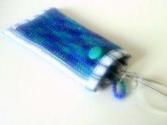 Brillentasche mit Knopfverschluss (blau / türkis)