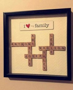 Creative DIY Shadow Box to surprise and beautify the lover …. Creative DIY Shadow Box to surprise and beautify the lover … Creative DIY Shadow Box to surprise and beautify the lover …. Creative DIY Shadow Box to surprise and beautify the lover … Scrabble Kunst, Scrabble Frame, Scrabble Art, Scrabble Tiles, Diy Christmas Gifts For Family, Family Crafts, Homemade Christmas Gifts, Holiday Gifts, Family Gift Ideas