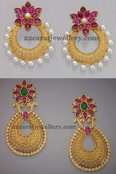 Jewellery Designs Uncut Fl Chandbalis Diamond Earrings Jewelry Gold