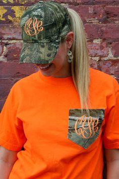 MONOGRAMMED Camo Patterned Pocket Tee - Short Sleeve - Hunting - Girls - Women - Fluorescent Orange - Deer by embellishboutiquellc on Etsy https://www.etsy.com/listing/159706944/monogrammed-camo-patterned-pocket-tee