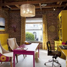 ben moore Rasberry mousse desk, retro-eclectic office/studio, yellow and pink studio, suzani fabric wingback chairs,