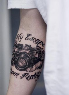 Arm Camera Tattoo Design  Side note:  my camera has saved me with my anxiety.  It is my wall I can put up but still allow myself to show my creativity.