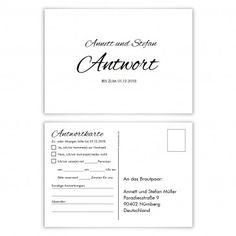 Antwortkarten Hochzeit Postkarte - Vintage Brautpaar in Weiß ...