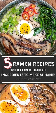 5 Ramen Recipes with Fewer Than 10 Ingredients to Make at Home! Asian Noodle Recipes, Asian Recipes, Easy Ramen Recipes, Japanese Recipes, Japanese Food, Yummy Pasta Recipes, Soup Recipes, Dinner Recipes, Vegetarian Ramen