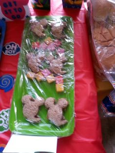 Pb&J mickey sandwiches. Made with mickey mouse cutter from party city.