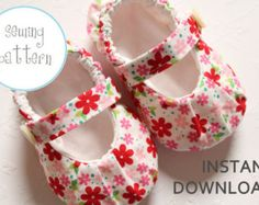 Baby Shoe Pattern Modern Mary Janes Sizes 1 to 5 by petitboo