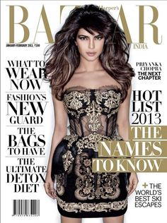 Priyanka Chopra is Harper's Bazaar first cover girl for 2013 & she is looking super stunning in a black and gold Dolce and Gabbana dress! She grabbed eyeballs with her funky style. Fashionistas take a look ! Fashion Magazine Cover, Cool Magazine, Fashion Cover, Magazine Covers, Actress Priyanka Chopra, Bollywood Actress, Revista Bazaar, India Match, Harper's Bazaar