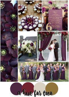 Plum, Cranberry, Cream and Gold Wedding Colour Scheme - Fall Weddings - Dark Wedding Colours - A Hue For Two | www.ahuefortwo.com
