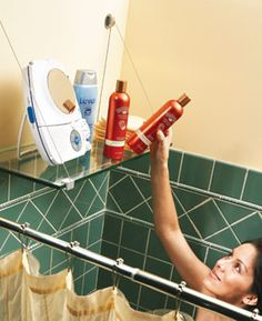 Tired of the clutter of shampoo and conditioner bottles along the rim of your tub? This tempered safety glass shelf on a cable shelf bracket is an easy solution. The cable shelf bracket requires only two screws for support. If studs aren't located in the right positions, use toggle bolts to anchor the shelf brackets. The glass hangs on the cables. The cable shelf brackets