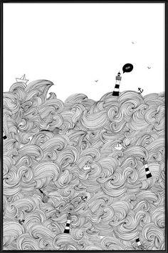 Ocean en Affiche sous cadre standard par Anika Merten   JUNIQE