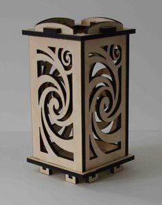 Laser Cut Wood Luminarie Tealight Lamp Whirl by ellenstarr, $39.00