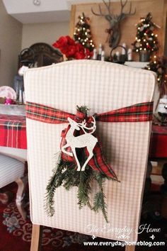 tartan and wooden reindeer chair decoration