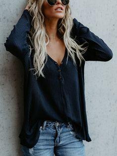 Blue V-neck Button Detail Long Sleeve T-shirt