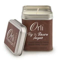 Fig & Brown Sugar ~ Luxurious cocoa and shea butter massage candle fragranced with the delicious aroma of fig, passion fruit, vanilla orchid & muguet, sweet brown sugar, warm maple and hint of bourbon vanilla. Organic Candles, Vanilla Orchid, Candle Packaging, Luxury Candles, Candle Companies, Handmade Candles, Massage Oil, Fragrance Oil, Soy Candles