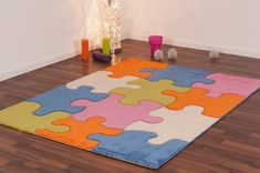Ladole Rugs Adorable Kids Area Rug Carpet with Puzzles Theme in Multicolor, x x Kids Area Rugs, Kids Play Area, Ikea Rug, Jigsaw Puzzles For Kids, Carpets For Kids, Orange Area Rug, Red Rugs, Floor Decor, Weaving Techniques