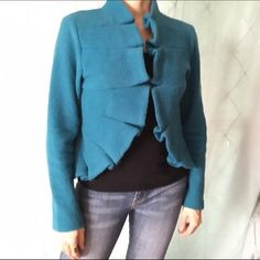 Gorgeous tailored turquoise jacket in boiled wool. J'ENVIE New York turquoise jacket J'Envie Jackets & Coats Blazers