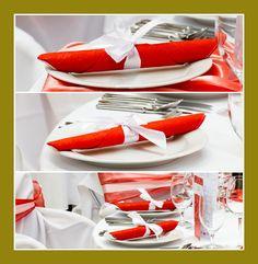 Rote Servietten Dekoration Hochzeit Geburtstag