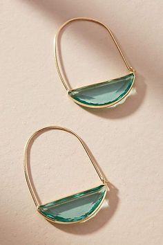 Crescent Hoop Earrings green