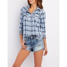 554174651ac Charlotte Russe Woven Plaid Western Shirt ( 25) ❤ liked on Polyvore  featuring blue combo