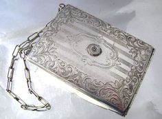 Art Nouveau Silver Compact Cigarette Case Dance Purse, Change Coin Purse Engraved Minaudiere Carry All, Business Card, Made in USA 1800's by JustSparkles on Etsy https://www.etsy.com/uk/listing/219253077/art-nouveau-silver-compact-cigarette