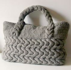 """Knitting Pattern for Cable Bag - Self-handled cabled purse. Width 50 cm (20"""") Height 32 cm ( 12.5"""")"""