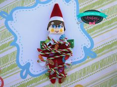Christmas lights tied up red elf sculpted hair clip