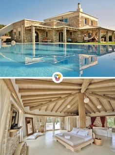 270 square meters of relaxation and luxury: At Villa Armonia in Crete 7 people can relax in a great luxury vacation. Beautiful Hotels, Beautiful Places, Villas, Greece Architecture, Creta, Just Dream, Camping Hacks, Outdoor Camping, Brazil