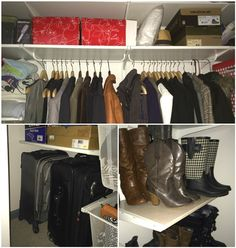 This IKEA blogger used ALGOT shelving system to create a DIY custom closet to store everything from jackets and boots to suitcases and boxes