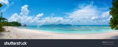 Panoramic View Of Tropical Anse Severe Beach On La Digue Island In Seychelles…