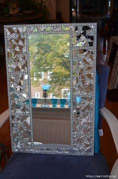 One of a kind collage/mosaic/mirror. A collage base on plywood with clear glass mosaic over. Mirror Mosaic, Mosaic Diy, Mosaic Crafts, Mosaic Projects, Mirror Art, Diy Mirror, Mosaic Wall, Mosaic Glass, Mosaic Tiles