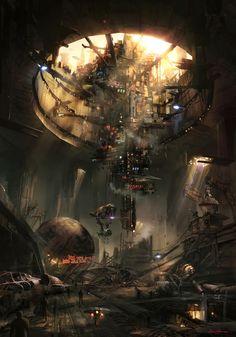 64 Ideas Science Fiction Cyberpunk Star Wars For 2019 Arte Sci Fi, Sci Fi Art, Star Wars Concept Art, Star Wars Art, Game Concept, Star Art, 3d Fantasy, Fantasy Landscape, Landscape Concept