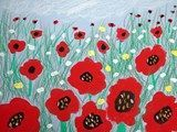 "poppies in perspective-1st Grade- easier just painting ""blobs"" for poppies instead of drawing-Foreground, middleground, background"