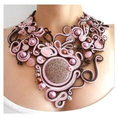 Items similar to RESERVED Art nouveau statement necklace OOAK soutache... ❤ liked on Polyvore featuring jewelry, necklaces, pink bead necklace, bib statement necklace, bead jewellery, art nouveau necklace and art nouveau jewelry