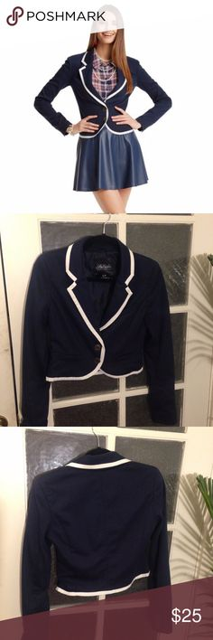Pretty Little Liars Cropped Navy Blazer Cropped navy blazer with white trim. Pretty Little Liars by Aeropostale. Aeropostale Jackets & Coats Blazers