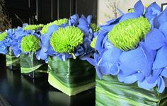 blue and green centerpieces