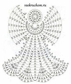 Free Crochet Diagram Pattern - not English Crochet Angel Pattern, Crochet Angels, Crochet Motifs, Crochet Diagram, Crochet Chart, Thread Crochet, Crochet Doilies, Free Crochet, Crochet Patterns