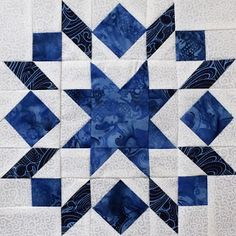 Two More Blocks - Blue & White Sampler Big Block Quilts, Star Quilt Blocks, Blue Quilts, Star Quilts, Mini Quilts, Quilt Square Patterns, Barn Quilt Patterns, Pattern Blocks, Half Square Triangle Quilts