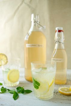 Elderflower lemonade — sprig of thyme