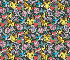 Tattoo Cats,Roses,Strawberry,Skulls fabric by caja_design on Spoonflower - custom fabric
