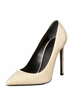 Paris Studded Pointed-Toe Pump, Nude by Saint Laurent at Neiman Marcus.