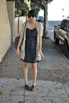 spring style: long cardigans with dresses.